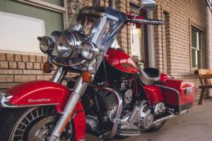 Harley Davidson motorcycle in front of Riata Inn Presidio