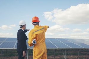 Worker and professional manager point at solar panels background