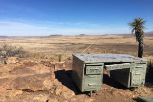 graffiti desk in the desert