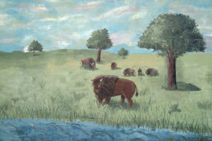 mural of bisons in a field